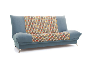 Прямой диван Хилтон-2 вилка Dream Blue + History Bricks Вид по диагонали