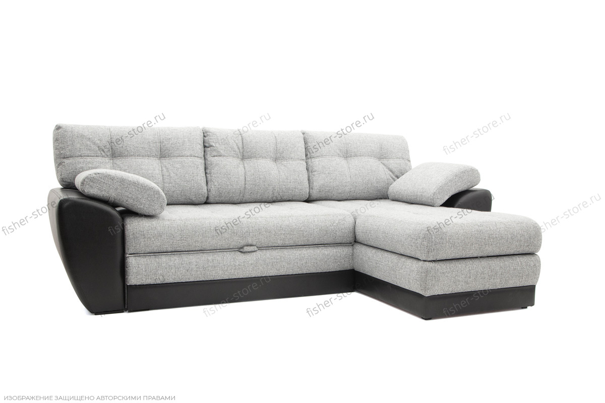 Серый угловой диван Император-2 Вид по диагонали